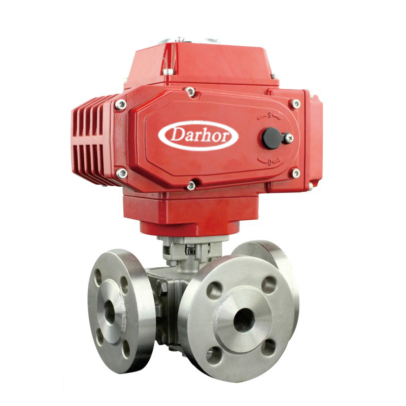 Electric 3 way Flange Ball Valve