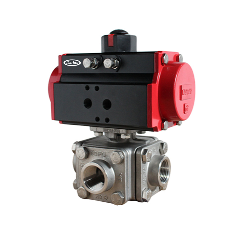 Pneumatic 3 way Thread Ball Valve