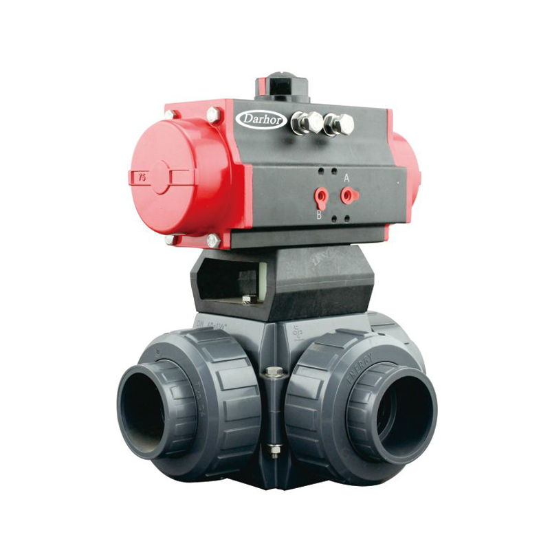 Pneumatic 3 way UPVC Plastic Ball Valve