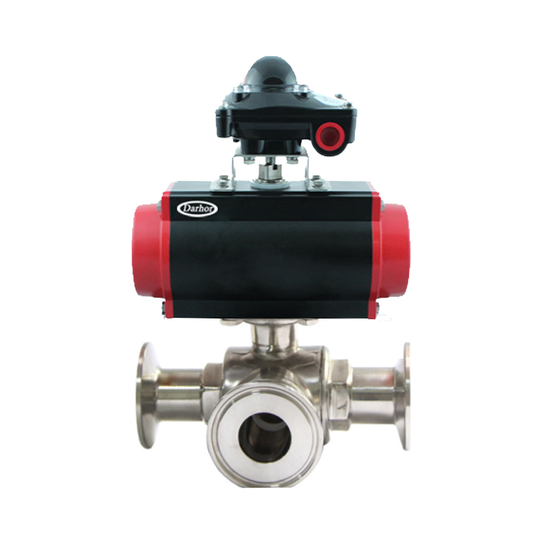 Pneumatic 3 way Clamp Ball Valve